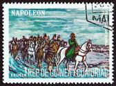 """Ekvator Ginesi - 1977 yaklaşık: """"Napoleon"""" sorunu gösterileri Rusya, geri çekilme 1814, 1977 yaklaşık Ekvator Ginesi basılmış damga. — Stok fotoğraf"""