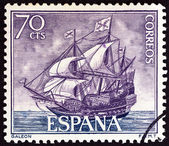 """SPAIN - CIRCA 1964: A stamp printed in Spain from the """"Spanish Navy Commemoration. Ships"""" issue shows Galleon, circa 1964. — Stock Photo"""