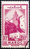 FRENCH MOROCCO - CIRCA 1939: A stamp printed in Morocco shows Mosque at Sefrou, circa 1939. — Stock Photo