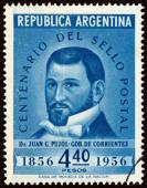 ARGENTINA - CIRCA 1956: A stamp printed in Argentina issued for the Centenary of 1st Argentine Stamps shows Dr. Juan Gregorio Pujol, Governor of the Province of Corrientes, circa 1956. — Stock Photo