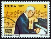 "CUBA - CIRCA 1977: A stamp printed in Cuba from the ""Cuban Musicians "" issue shows Antonio Maria Romeu, circa 1977. — Stock Photo"