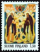 FINLAND - CIRCA 1985: A stamp printed in Finland issued for the centenary of Saint Sergei and Saint Herman Order shows Saints Sergei and Herman (icon, Petros Sasaki), circa 1985. — Stock Photo