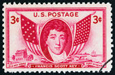 USA - CIRCA 1948: A stamp printed in USA shows Francis Scott Key and Flags, circa 1948. — Stock Photo