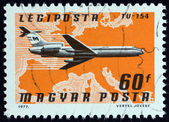 """HUNGARY - CIRCA 1977: A stamp printed in Hungary from the """"Planes, Airlines and Maps"""" issue shows a Tupolev TU-154, Malev and Europe map, circa 1977. — Stock Photo"""