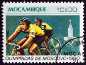 """MOZAMBIQUE - CIRCA 1980: A stamp printed in Mozambique from the """"Olympic Games, Moscow """" issue shows Cycling, circa 1980. — Stock Photo"""
