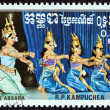 "KAMPUCHEA - CIRCA 1985: A stamp printed in Kampuchea from the ""Traditional Dances "" issue shows Absara group, circa 1985. — Stock Photo #78739028"
