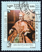 "LAOS - CIRCA 1984: A stamp printed in Laos from the ""International Stamp Exhibition Espana '84, Madrid, Spain "" issue shows Cardinal Nino de Guevara (El Greco), circa 1984. — Stock Photo"