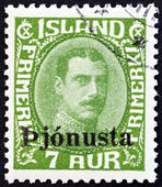 ICELAND - CIRCA 1936: A stamp printed in Iceland shows King Christian X, circa 1936. — Stock Photo