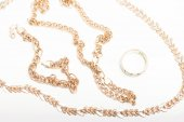Gold ring bracelet and necklace — Stock Photo