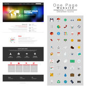 One page website design template. All in one set for website des — Stock Vector