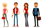 Cute cartoon illustration of people in various outfits — Stock Vector