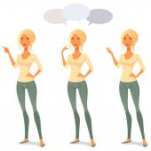 Cute cartoon woman in casual clothes in various poses — Stock Vector