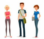 Cute cartoon illustration of young people in casual fashion — Stock Vector