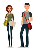 Cartoon illustration of students in casual clothes — Stock Vector