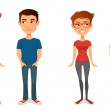 Cute cartoon people in casual outfits, with glasses — Stock Vector #53150803