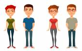 Cute cartoon people in casual outfits, with glasses — Stock Vector