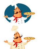Funny cartoon illustration of a pizza chef — Stock Vector