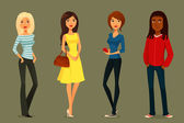 Cute cartoon illustration of young people in various outfits — Stock Vector
