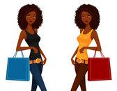 Beautiful African American woman shopping — Stock Vector