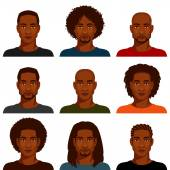 African American men with various hairstyle and beard — Stock Vector