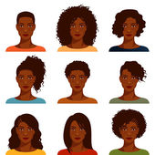 Beautiful African American woman with various hairstyles — Stock Vector