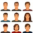 Young handsome men with various hairstyle — Stock Vector #56608761
