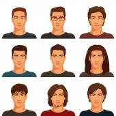 Young handsome men with various hairstyle — Stock Vector
