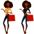 Attractive African American girl shopping — Stock Vector #57745313