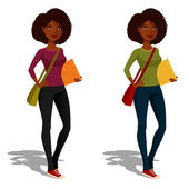 Cute African American student girl — Stock Vector