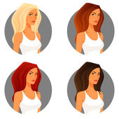 Beautiful young woman with various hair color — Stock Vector