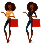 Attractive African American girl shopping — Stock Vector