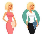 Cute cartoon office girl or secretary holding folders — Stock Vector