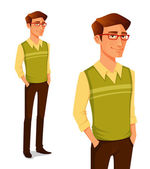 Cartoon illustration of a young guy in hipster fashion — Stock Vector