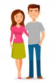 Cute cartoon couple — Stock Vector