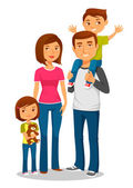 Cute happy family with two kids — Stock Vector