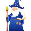 Cute cartoon wizard with magic book, potions and staff — Stock Vector #75331787