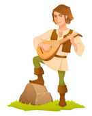 Cartoon illustration of a handsome medieval bard with a lute — Stock Vector