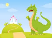 Friendly dragon welcoming you to the fairy tale kingdom — Stock Vector