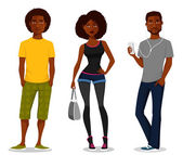 Young people in casual outfits — Stock Vector