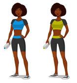 Jovem garota afro-americana em equipamento desportivo — Vetor de Stock