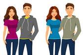 Joven pareja feliz de ropa casual — Vector de stock