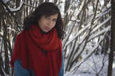 Girl dressed in red scarf and blue coat over the snowy park background — Fotografia Stock