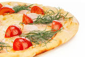 Cheese pizza with tomatoes — Stock Photo