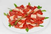 Carpaccio with Parmesan Cheese — Stock Photo