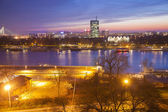 Belgrade city with Danube river in the evening, Capital city of Serbia — Stock Photo