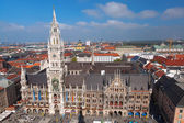 Aerial view of Munchen with Marienplatz, New Town Hall in Germany — Stock Photo