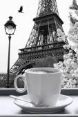 Eiffel Tower with cup of coffee in black and white style, Paris, France — Stock Photo