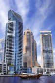 Dubai Marina with boats against skyscrapers in Dubai, United Arab Emirates — ストック写真