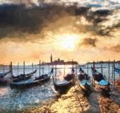 Venice with gondolas, Italy, Oil painting — Stock Photo
