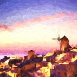 Oia village in Santorini island, Greece, ART STYLE — Stock Photo #62279709